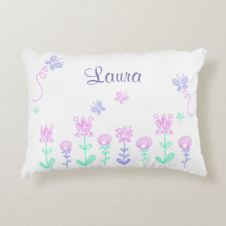 Personalized Butterfly and Flower Pink & Purple Decorative Pillow
