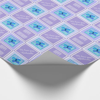 Personalized Butterfly Checked Wrapping Paper