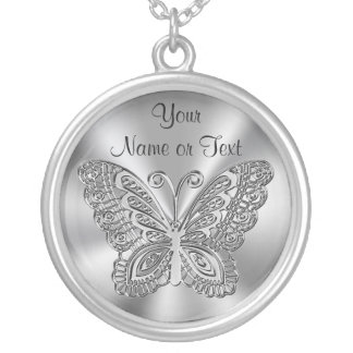 Personalized Butterfly Necklace Silver for Her