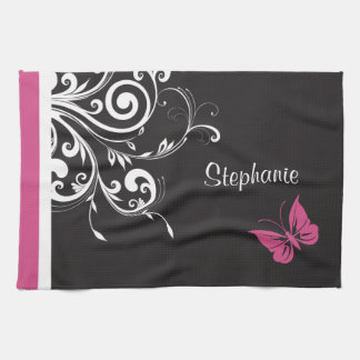 Personalized Butterfly Swirls Cranberry Pink Hand Towels