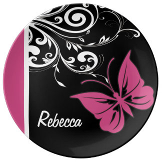 Personalized Butterfly Swirls Cranberry Pink Porcelain Plate