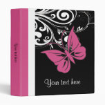 Personalized Butterfly Swirls Cranberry Pink Vinyl Binder