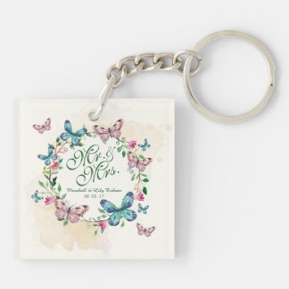 Personalized Butterfly Wreath Wedding Keychain