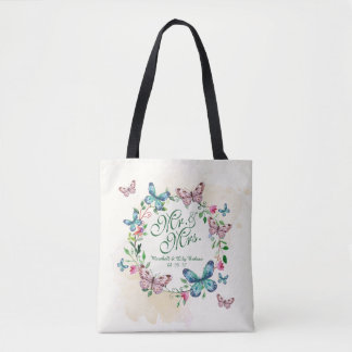 Personalized Butterfly Wreath Wedding Tote Bag