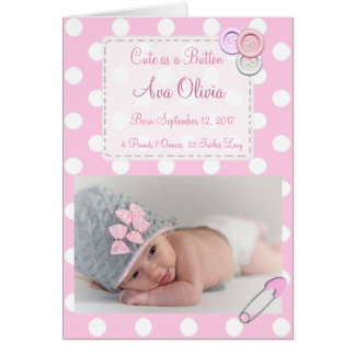 Personalized Button Baby  Photo Birth Announcement