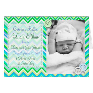 Personalized Buttons Baby Photo Birth Announcement