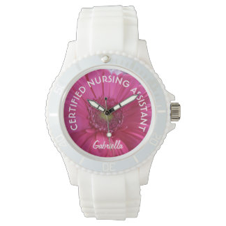 Personalized C.N.A. Pink Daisy Watch