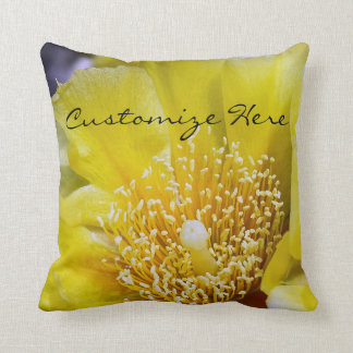 Personalized Cactus Bloom Throw Pillow