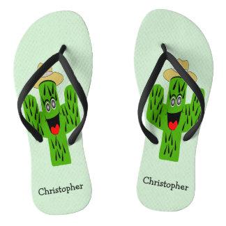 Personalized Cactus Design Flip Flops