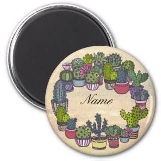 Personalized Cactus Wreath 2 Inch Round Magnet