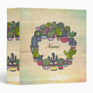 Personalized Cactus Wreath 3 Ring Binder