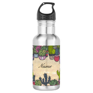 Personalized Cactus Wreath 532 Ml Water Bottle
