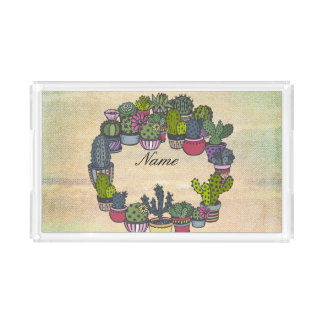 Personalized Cactus Wreath Acrylic Tray