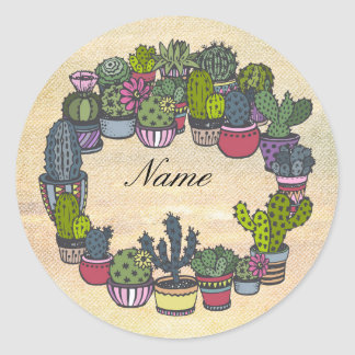Personalized Cactus Wreath Classic Round Sticker