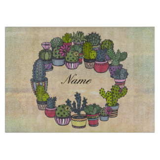 Personalized Cactus Wreath Cutting Board