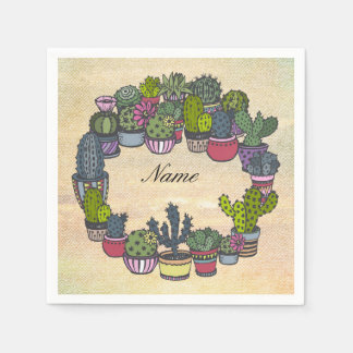 Personalized Cactus Wreath Disposable Napkin