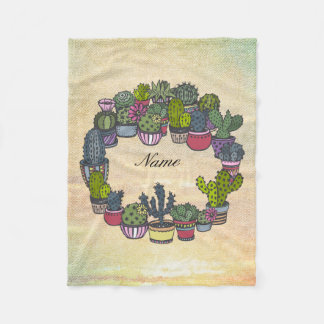 Personalized Cactus Wreath Fleece Blanket