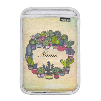 Personalized Cactus Wreath iPad Mini Sleeves