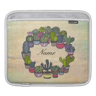 Personalized Cactus Wreath iPad Sleeves