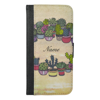 Personalized Cactus Wreath iPhone 6/6s Plus Wallet Case