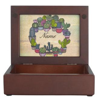 Personalized Cactus Wreath Keepsake Box