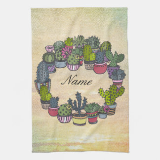 Personalized Cactus Wreath Kitchen Towel