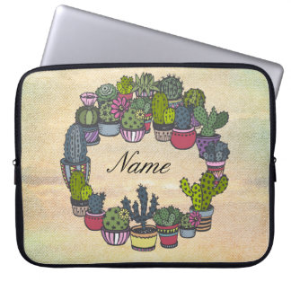 Personalized Cactus Wreath Laptop Sleeve