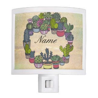 Personalized Cactus Wreath Night Light