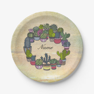 Personalized Cactus Wreath Paper Plate