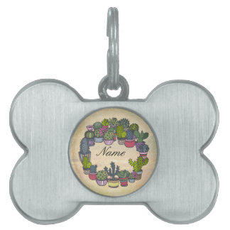 Personalized Cactus Wreath Pet ID Tag