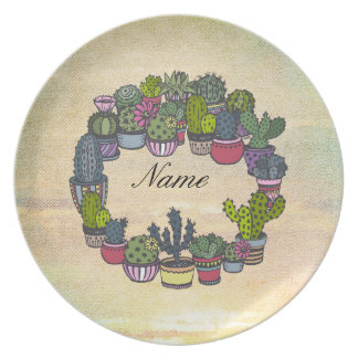Personalized Cactus Wreath Plate