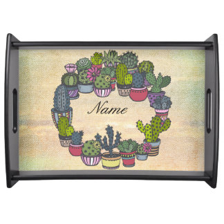 Personalized Cactus Wreath Serving Tray
