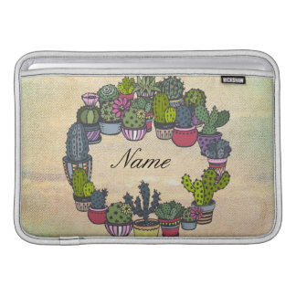 Personalized Cactus Wreath Sleeve For MacBook Air