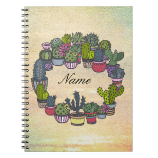 Personalized Cactus Wreath Spiral Notebook