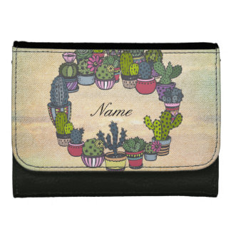 Personalized Cactus Wreath Wallet