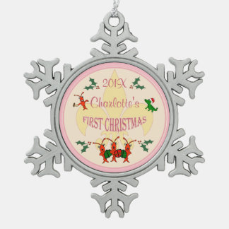 Personalized Cajun Baby Girl First Christmas Snowflake Pewter Christmas Ornament