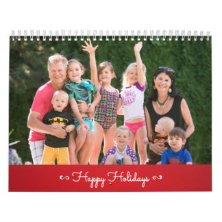 Personalized Calendar Red Happy Holidays
