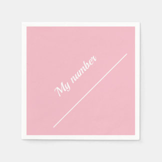 Personalized Calligraphy Name My number Pink Paper Napkin