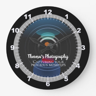 Personalized Camera Lens Photography Studio Large Clock