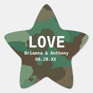 Personalized Camouflage Star Love Wedding Sticker