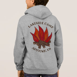 Personalized Campfire Summer Camp Fire Flames Hoodie