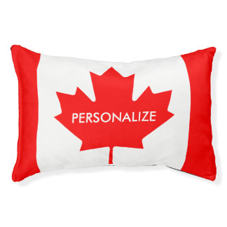 Personalized Canadian flag dog bed for pets