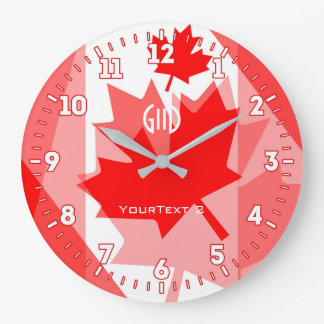 Personalized Canadian Spirit Graphic Design on a Large Clock