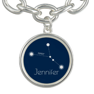 Personalized Cancer Zodiac Constellation Charm Bracelets