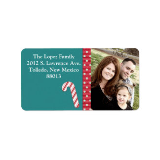 Personalized Candy Cane Stripes on T Mailing Label