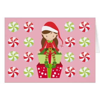 Personalized Candy Christmas Elf Card