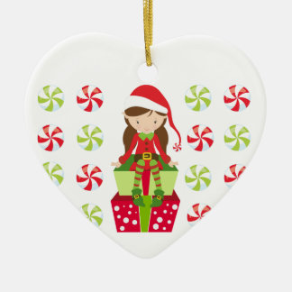 Personalized Candy Christmas Elf Ceramic Ornament