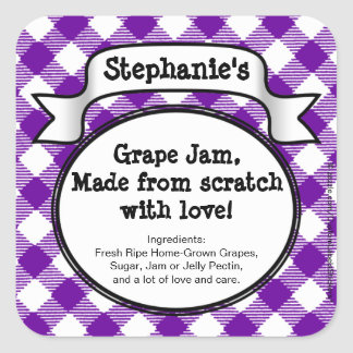Personalized Canning Grape Jelly/Jam Jar Label