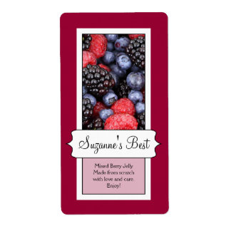Personalized Canning Jar Label, Berries Shipping Label