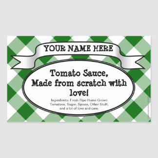Personalized Canning Jar Label, Green Gingham Jam Sticker